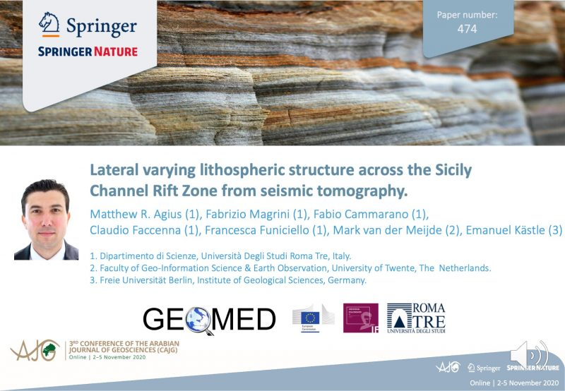 Click image to watch presentation of Lateral varying lithospheric structure across the Sicily Channel Rift Zone from seismic tomography.